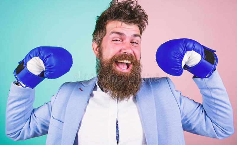 I am the champion. Bearded man in boxing stance. Fighting for success in sport and business. Businessman in formal wear. And boxing gloves. Sport improves his stock images