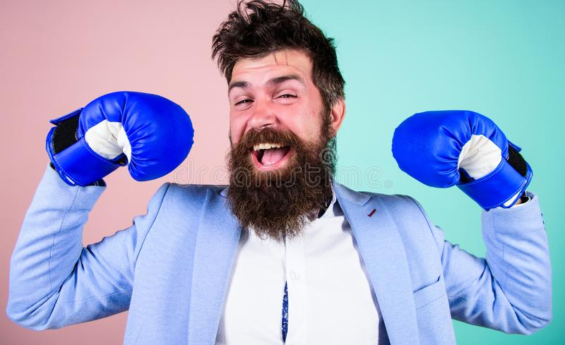 I am the champion. Bearded man in boxing stance. Fighting for success in sport and business. Businessman in formal wear. And boxing gloves. Sport improves his royalty free stock images