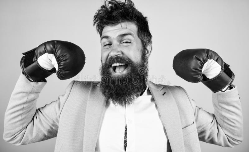 I am the champion. Bearded man in boxing stance. Fighting for success in sport and business. Businessman in formal wear. And boxing gloves. Sport improves his stock photos