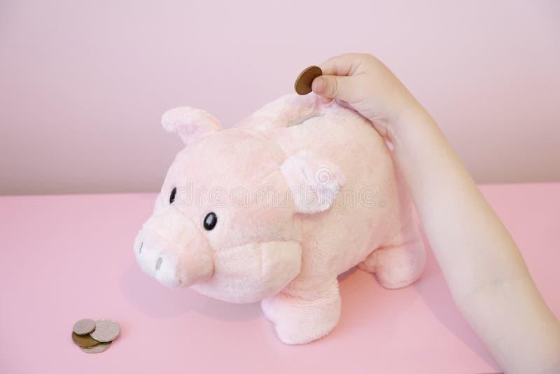 I childs di risparmio del porcellino salvadanaio passano a bambini delle monete il rosa del fondo fiduciario dei soldi finanza si fotografia stock
