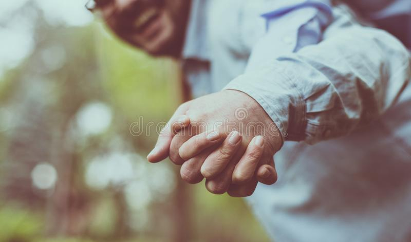 I always choose your hand. stock image