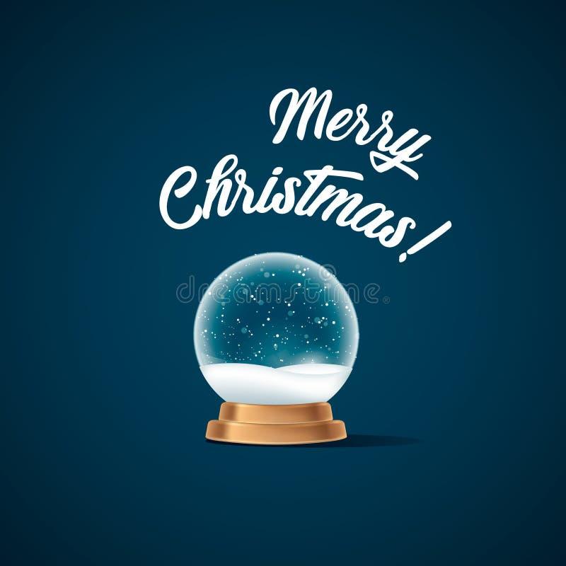 I chrismas realistici del nuovo anno della palla del globo della neve obiettano isolato su bianco con ombra illustrazione vettoriale