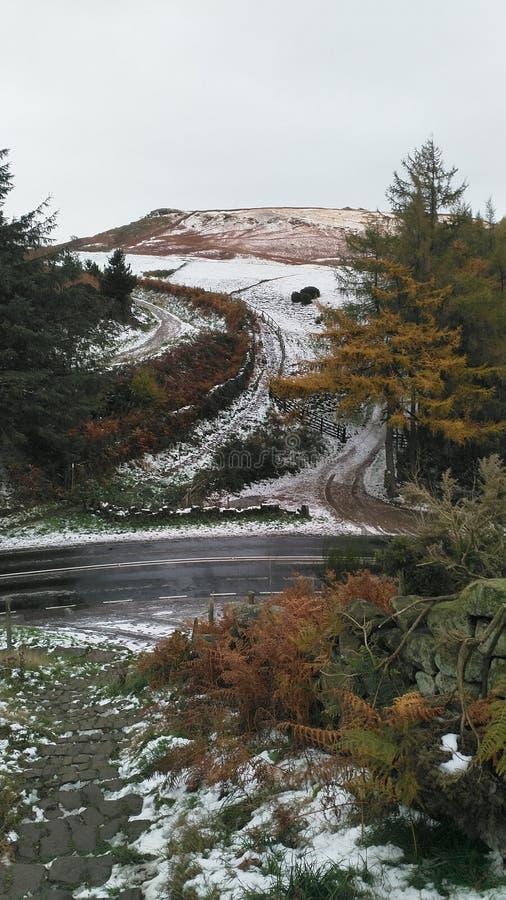 I cieli grigi sopra North Yorkshire attracca immagine stock