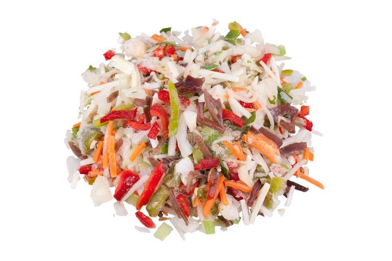 I cinesi si mescolano, verdure congelate con il fungo nero immagine stock