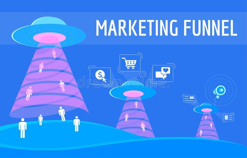 I clienti nuovi di conquista infographic dell'imbuto digitale di vendita illustrazione vettoriale
