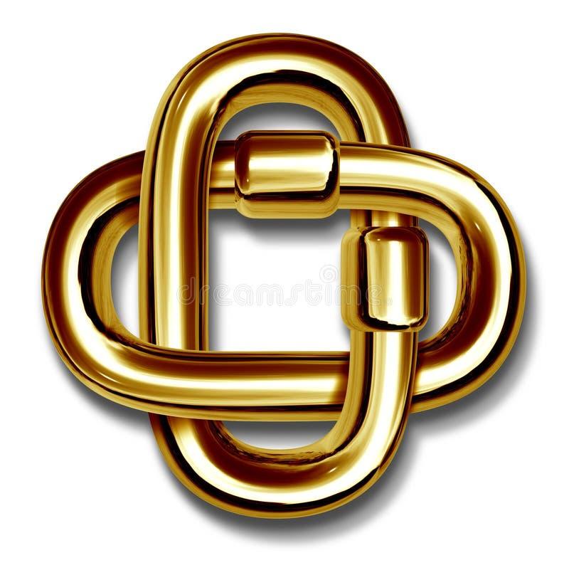I collegamenti chain dell'oro si sono collegati insieme nell'unità royalty illustrazione gratis