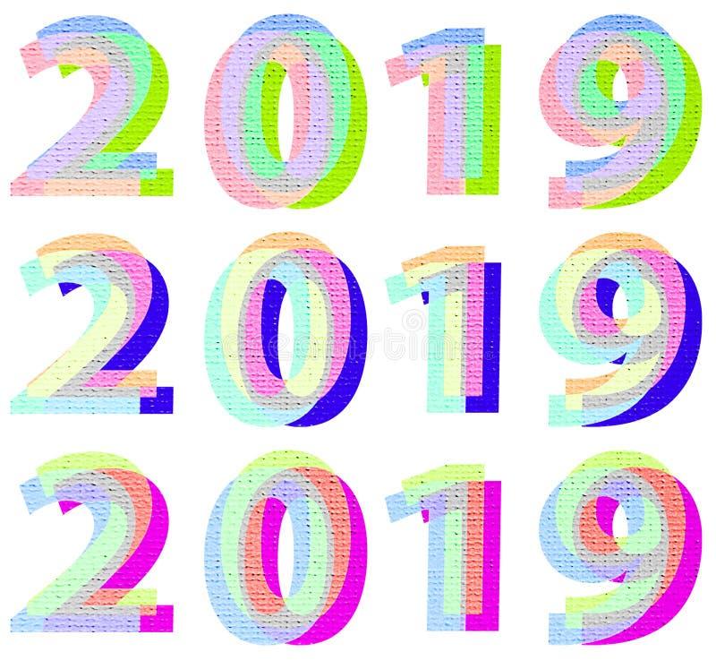 i colori d'avanguardia di 2019 anni numerano l'insieme del modello di progettazione Lettere di progettazione di numero di fonte 2 illustrazione vettoriale
