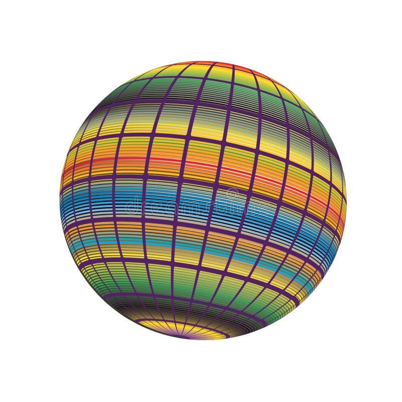I colori 3D rendono la linea fondo Illustration_8 della banda di spettro dell'icona di vettore del globo del mondo illustrazione vettoriale