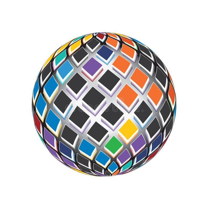 I colori 3D rendono lo spettro quadra il vettore Logo Icon Illustration del globo del mondo del mosaico royalty illustrazione gratis