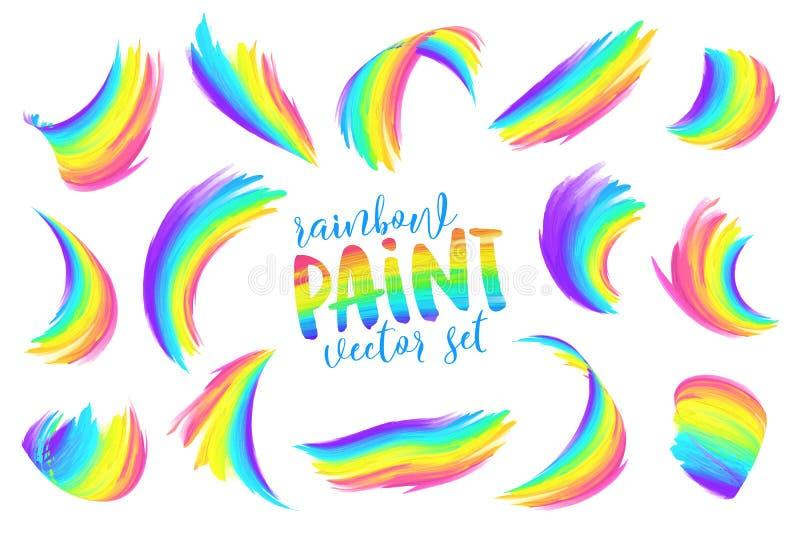 I colori dell'arcobaleno hanno dipinto l'insieme di vettore di pennellate illustrazione vettoriale