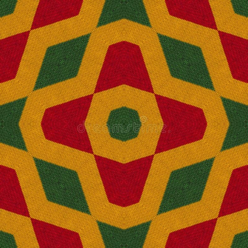 I colori di reggae lavorano all'uncinetto il fondo tricottato di stile, vista superiore Collage con la riflessione di specchio co royalty illustrazione gratis