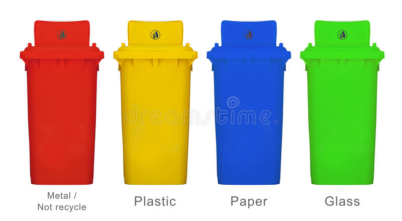 I colori differenti riciclano il recipiente la l fonte bianca isolata del fondo fotografia stock