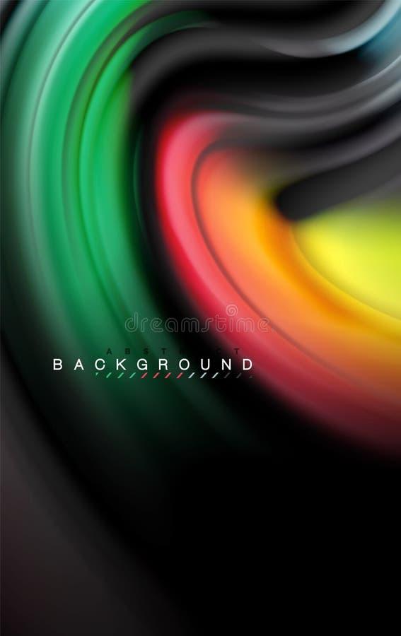 I colori liquidi fluidi progettano, marmo variopinto o fondo ondulato di plastica di struttura, elementi multicolori d'ardore sul illustrazione di stock