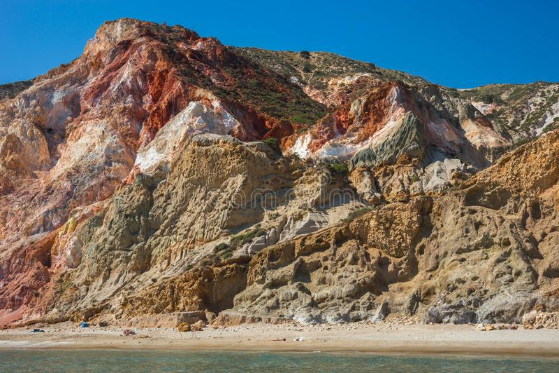 I colori naturali di Firiplaka tirano, Milo, Grecia fotografia stock libera da diritti