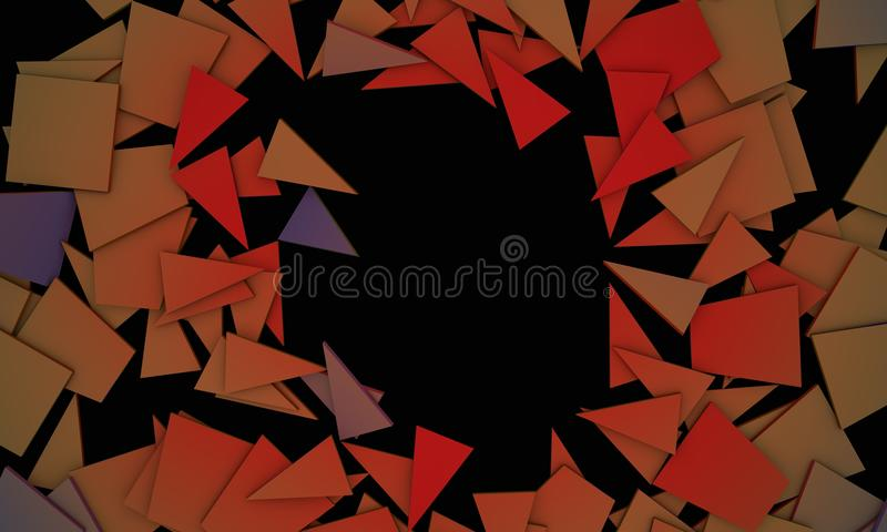 I colori rotti di contrasto obietta, fondo 3d del testo del campione si strappano illustrazione di stock