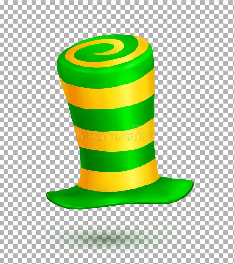 I colori verdi e gialli hanno barrato il cappello realistico di carnevale di vettore isolato sul fondo di griglia della trasparen illustrazione di stock