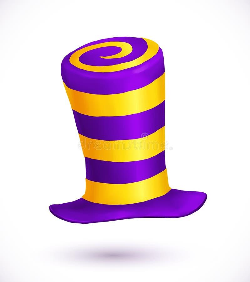 I colori viola e gialli hanno barrato il cappello realistico di carnevale di vettore royalty illustrazione gratis