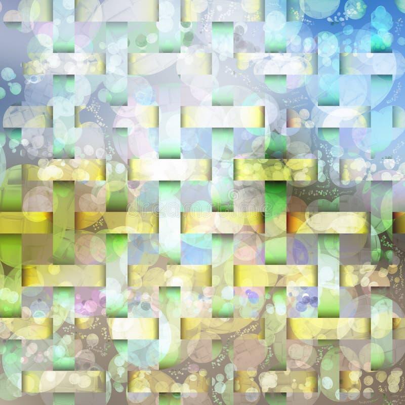I colori vivi del fondo astratto strutturano le forme e le bolle illustrazione di stock