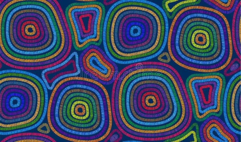 I colori vivi hanno cucito i cerchi sulle mattonelle senza cuciture del modello di vettore blu scuro del fondo illustrazione vettoriale