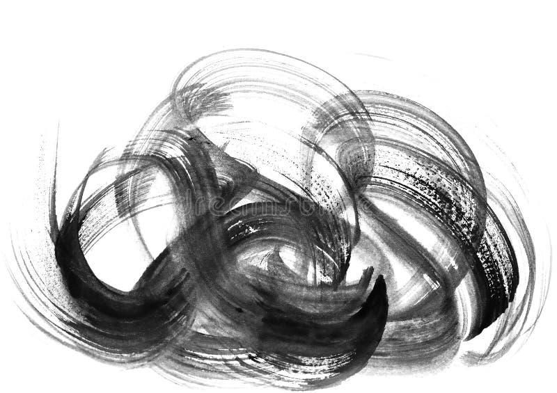 I colpi astratti della spazzola e spruzza di pittura su Libro Bianco wat illustrazione di stock
