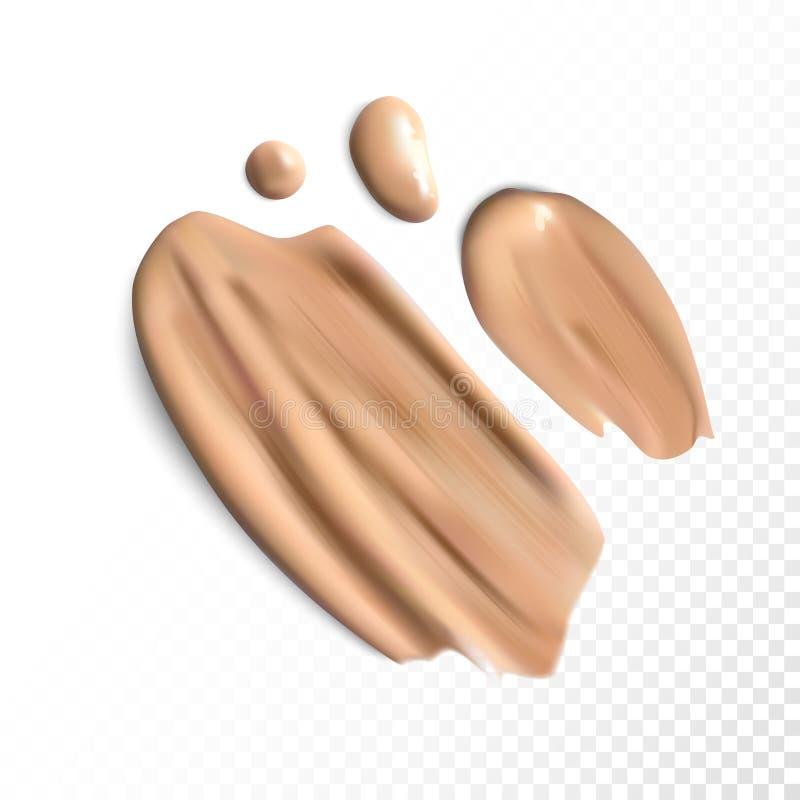 I colpi cosmetici della sbavatura di correttore, crema del tono hanno macchiato il vettore royalty illustrazione gratis