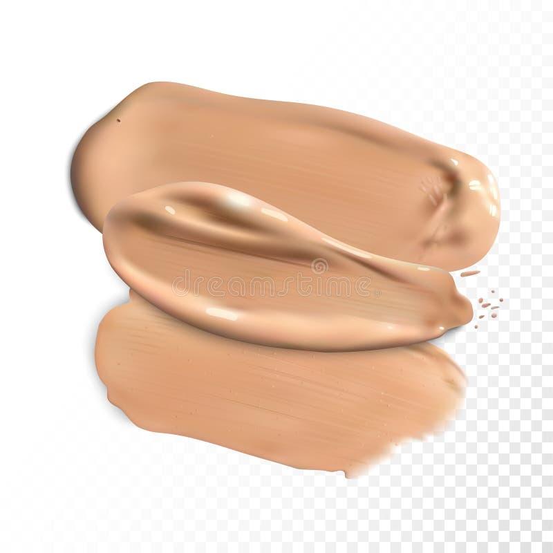 I colpi cosmetici della sbavatura di correttore, crema del tono hanno macchiato il vettore illustrazione vettoriale
