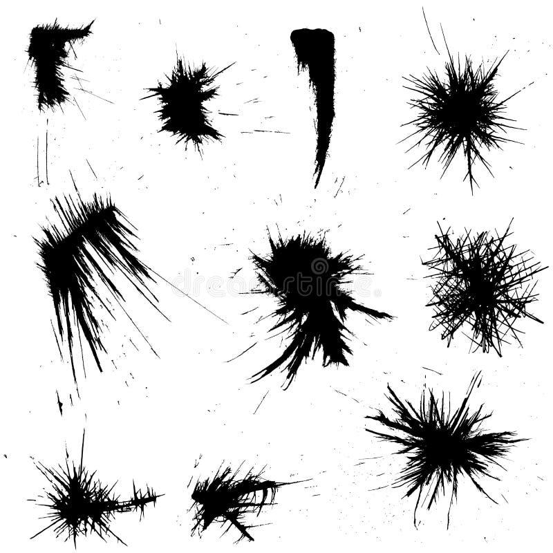 I colpi Grungy della spazzola e dell'inchiostro hanno impostato illustrazione di stock