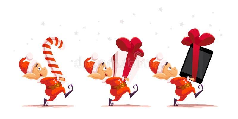 I colpi Vector il ritratto piano del carattere dell'elfo del Babbo Natale di natale isolato illustrazione di stock