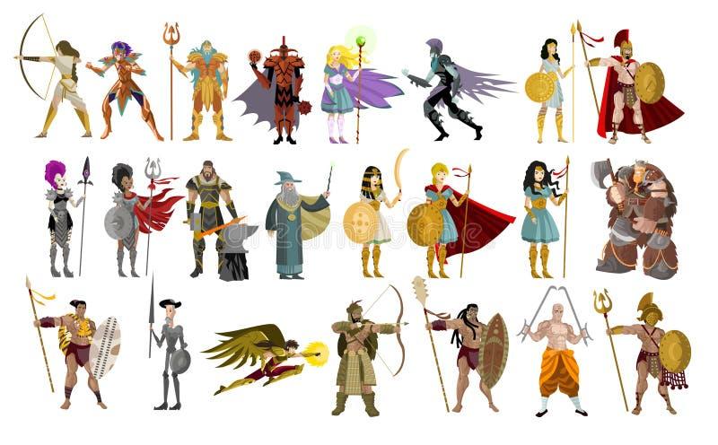 I combattenti knight l'uomo dei guerrieri ed i caratteri potenti femminili illustrazione di stock