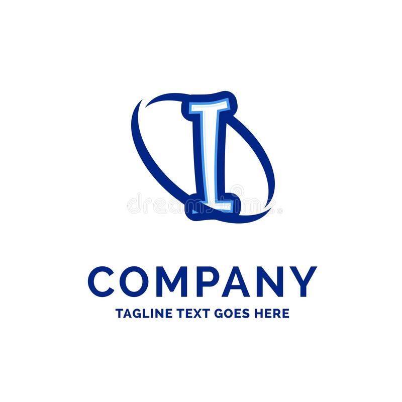 I Company Name Design Blue Logo Design royalty free illustration