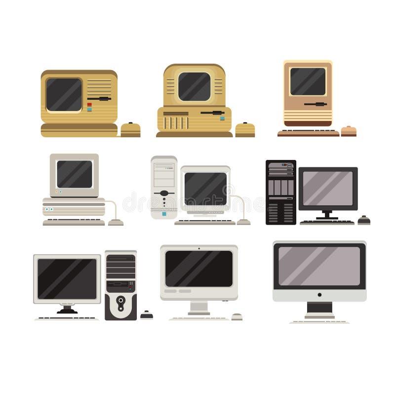 I computer hanno messo, evoluzione del PC da obsoleto alle illustrazioni moderne di vettore su un fondo bianco royalty illustrazione gratis