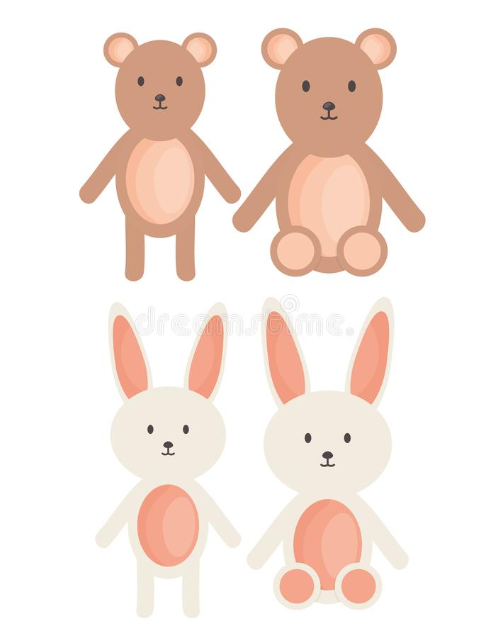 I conigli e gli orsi svegli hanno farcito i giocattoli illustrazione vettoriale