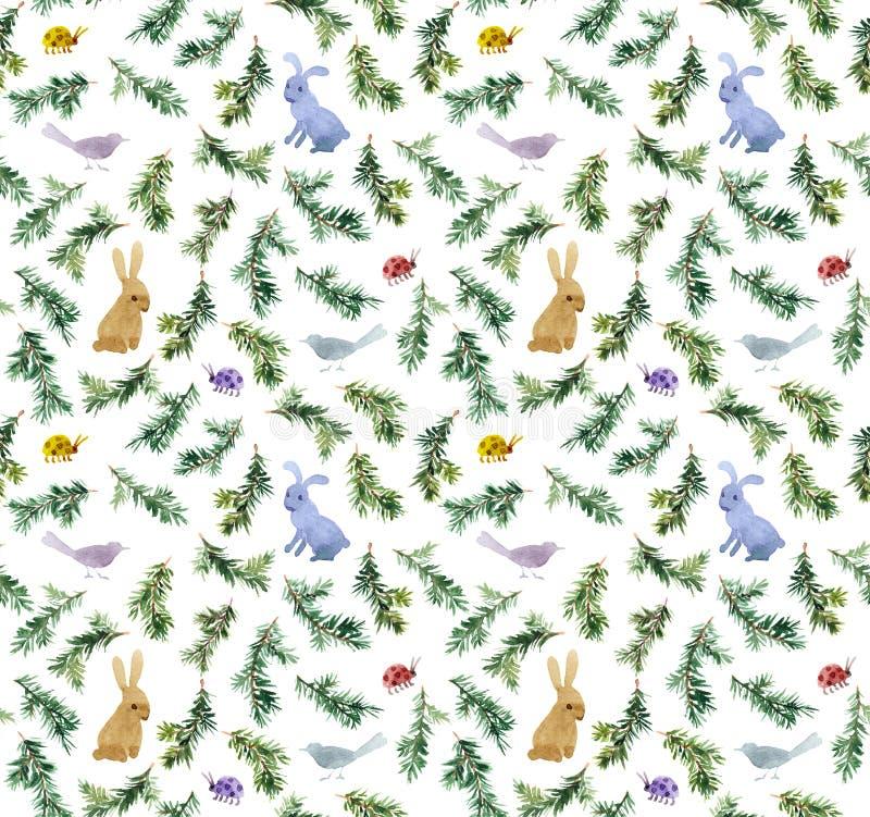 I conigli svegli, uccelli, si ramifica albero di Natale Reticolo senza giunte watercolor immagini stock libere da diritti