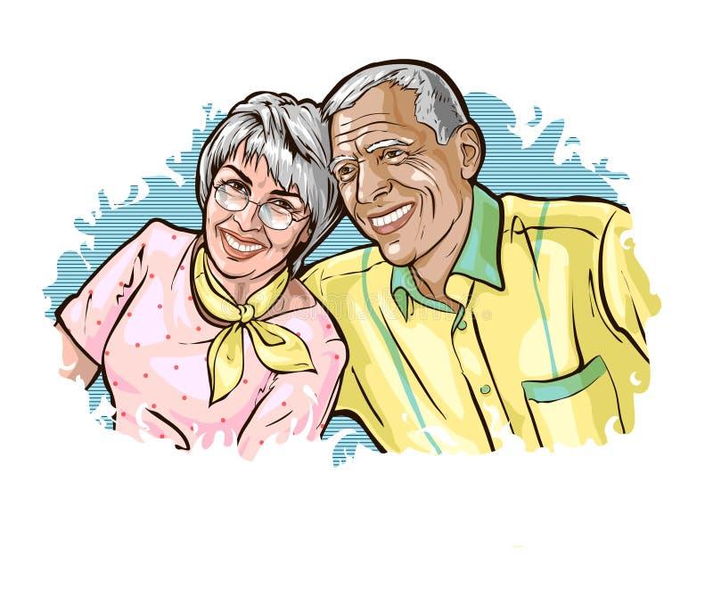 I coniugi dai capelli grigi anziani si siedono felicemente la spalla ed il sorriso illustrazione vettoriale