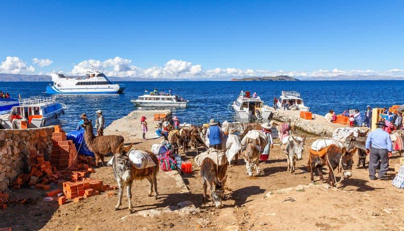 I contadini boliviani sono arrivato in traghetto, riunito sulla riva del lago Titicaca con gli asini caricati pesanti nella prior immagine stock