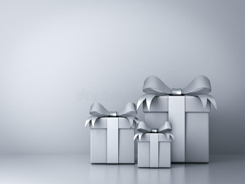 I contenitori di regalo con l'arco d'argento del nastro e svuotano la parete bianca illustrazione di stock