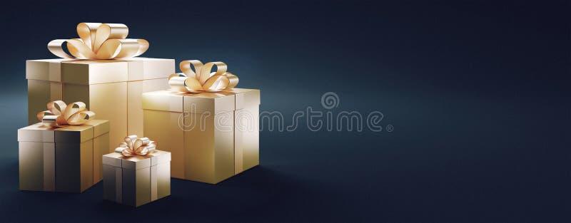 I contenitori di regalo, i regali di Natale, l'amore, 3d rendono l'illustrazione illustrazione di stock