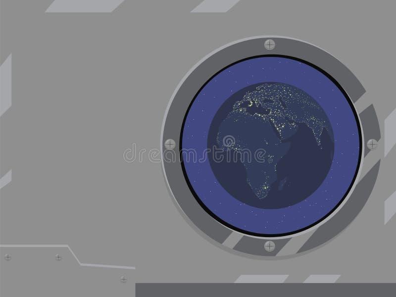 I continenti brillanti della terra blu del pianeta accendono la civilizzazione l'Eurasia Africa del mare nello spazio contro lo s royalty illustrazione gratis