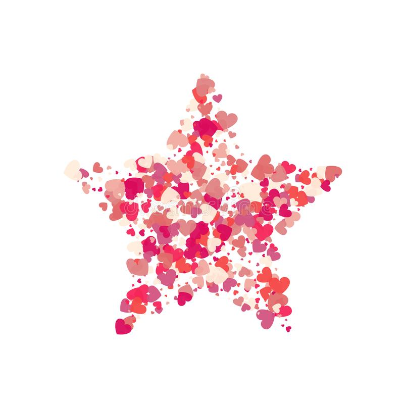 I coriandoli di rosa di vettore di forma del cuore spruzzano con la stella rossa dentro illustrazione vettoriale