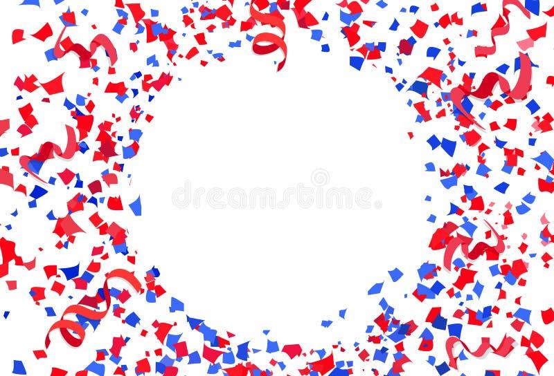 I coriandoli, la carta ed i nastri spargono il partito della celebrazione di esplosione sull'illustrazione astratta bianca di vet royalty illustrazione gratis
