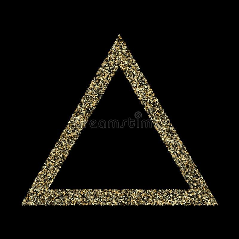 I coriandoli metallici della polvere di scintillio delle scintille dell'oro vector il fondo del confine della struttura illustrazione vettoriale