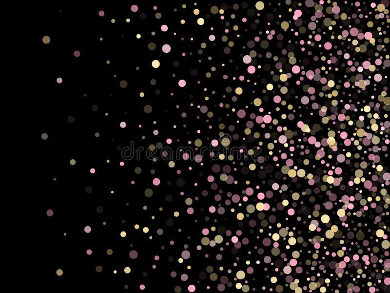 I coriandoli rosa dell'oro circondano la decorazione per la carta dell'invito del partito illustrazione di stock