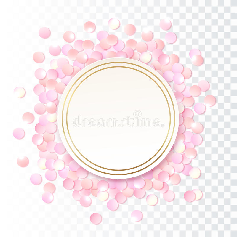 I coriandoli rotondi realistici rosa incorniciano, modello di progettazione per il regalo, il certificato, il buono, opuscolo del illustrazione di stock