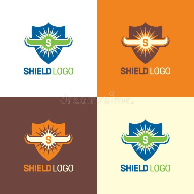 I corni di toro proteggono il logo e l'icona Illustrazione di vettore illustrazione di stock