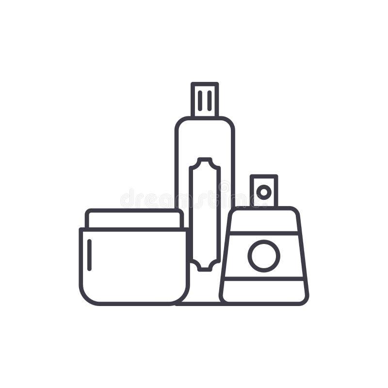 I cosmetici comperano linea concetto dell'icona I cosmetici comperano illustrazione lineare di vettore, simbolo, segno royalty illustrazione gratis