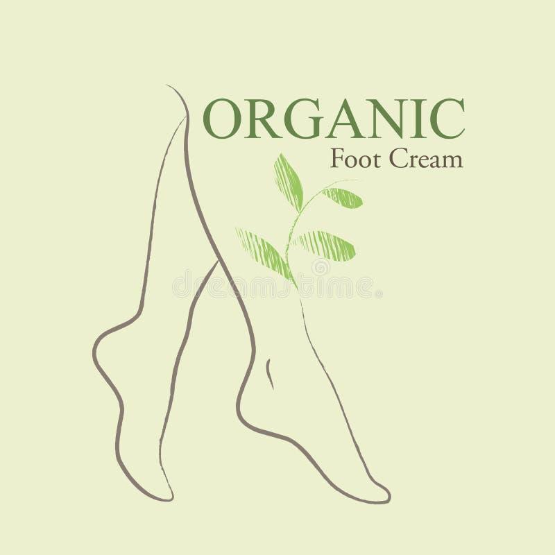 I cosmetici organici progettano gli elementi con i piedi della donna contornata illustrazione di stock