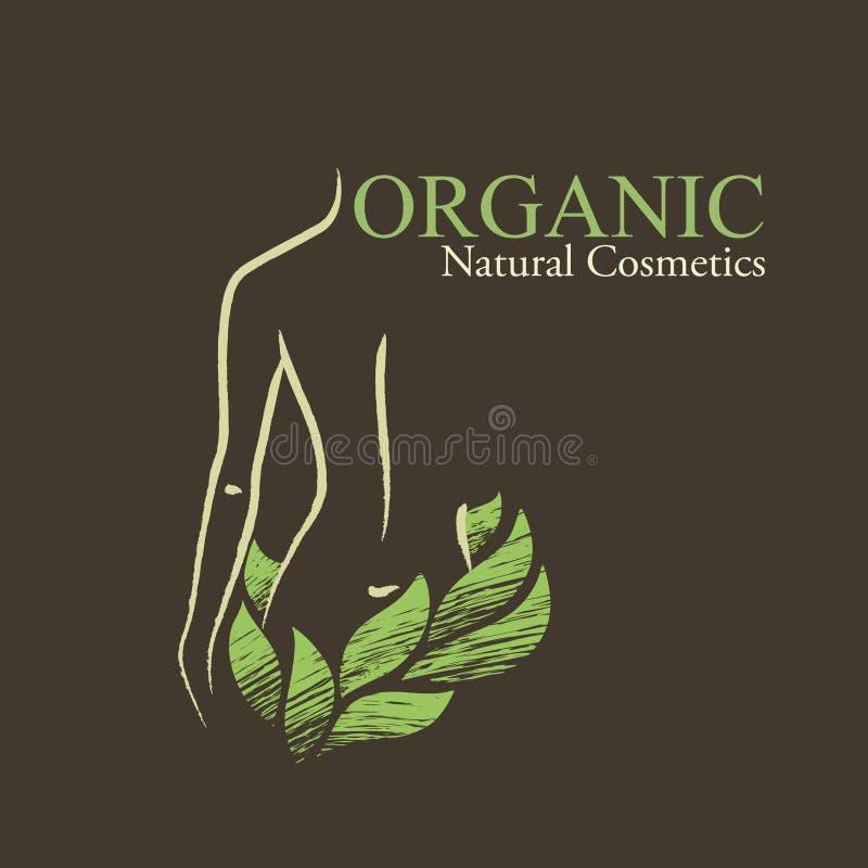 I cosmetici organici progettano gli elementi con la forma a della donna contornata royalty illustrazione gratis
