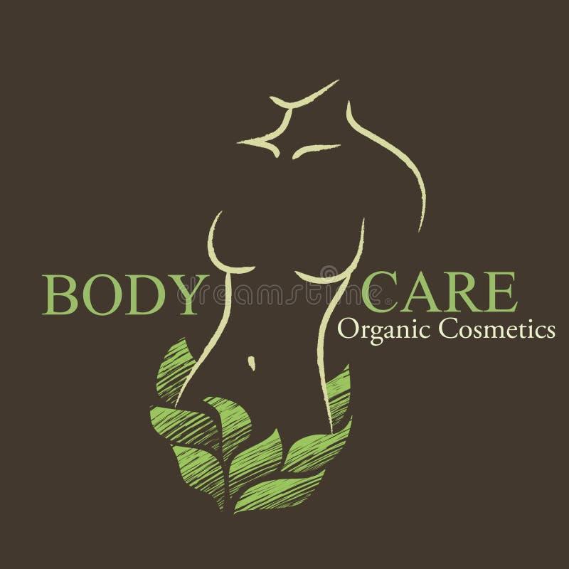 I cosmetici organici progettano gli elementi con la forma a della donna contornata illustrazione di stock