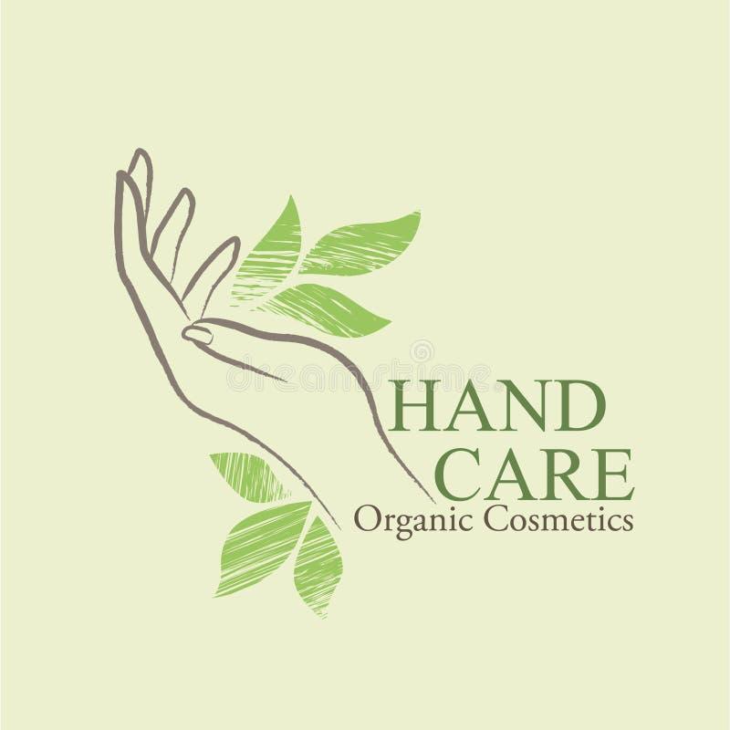 I cosmetici organici progettano gli elementi con la mano della donna contornata illustrazione vettoriale