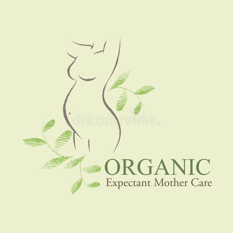 I cosmetici organici progettano l'elemento con le donne incinte ed i neonati contornati illustrazione di stock